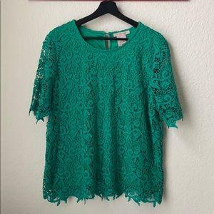 Philosophy Emerald Green Crochet Blouse NWOT sz XL